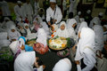 Ramadhan islamic school students eat after fasting in the month of ramadan in the town of solo central java indonesia Royalty Free Stock Photos
