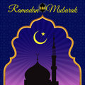 Ramadon Mubarak - Gold arab window art and masjid at night vector design
