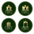 Ramadan Kareem Islam gold building circle set