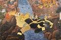 Ramayana epic painting at Wat pra kaew, Thailand