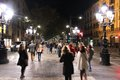 Rambla at night barcelona spain november people walk famous boulevard on november in barcelona spain according to mastercard Royalty Free Stock Images