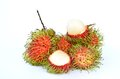 Rambutan close up tropical fruit isolated on white background Royalty Free Stock Image