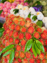 Rambutan or hairy fruit popular on summer of thailand Royalty Free Stock Photos