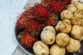 Rambutan and longkong fruits of thailand southeast asia Royalty Free Stock Photography