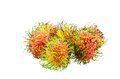 Rambutan object on white food close up Stock Photos