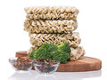 Ramen instant raw noodles on wooden plank 3/4 presentation 2 Stock Images