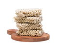 Ramen instant raw noodles on wooden plank front Royalty Free Stock Photography