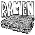 Ramen noodles sketch Stock Images
