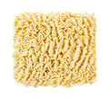 Ramen noodles uncooked a block of isolated on white Royalty Free Stock Photo