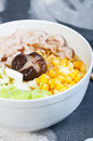 Ramen sliced pork with vegetables and buttered corn Royalty Free Stock Photo