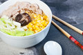 Ramen sliced pork with vegetables and buttered corn Stock Image