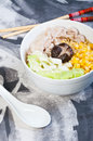 Ramen sliced pork with vegetables and buttered corn Stock Images
