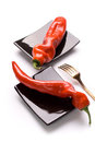 Ramiro pepper on black dishes Royalty Free Stock Photo