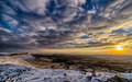 Ramon crater at subzero under snow in the negev desert in israel Royalty Free Stock Image