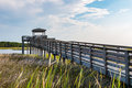 Ramp Over Marshland to Observation Point at Bodie Lighthouse Royalty Free Stock Photo