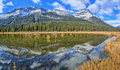 Rampart pond icefields parkway alberta canada Royalty Free Stock Photo
