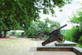 Rampart with a row of medieval cannons in chernigiv ukraine Royalty Free Stock Photo