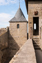 Ramparts the at carcassonne castle Royalty Free Stock Photo