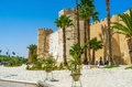 The ramparts of sfax tunisia september old town walls surounded by tropic garden on september in Stock Photos
