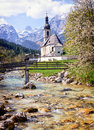 Ramsau famous old church in austria Royalty Free Stock Photo