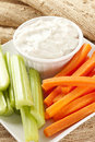 Ranch dressing with carrots and celery Stock Image