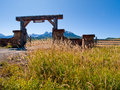 Ranch entrance gate of the last dollar in autumn with a view of the dallas divide on the back Royalty Free Stock Photo