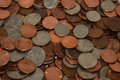 Random coins united states including pennies quarters nickles and dimes Stock Photography
