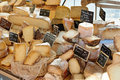 Random French cheese at market of Provence Royalty Free Stock Photos