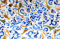 Random mosaic pattern gaudi of in parc guell spain Royalty Free Stock Images