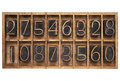 Random numbers letterpress wood type blocks in vintage typesetter drawer Royalty Free Stock Photos