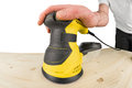 Random orbit sander at work Stock Images