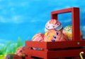 Random real painting (ugly look) on real eggs for Easter day Stock Photo