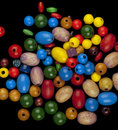 Randomly arranged multi coloured beads Royalty Free Stock Images