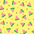 Randomly scattered watermelon slices and points. Colorful seamless pattern. Royalty Free Stock Photo