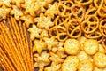 Range of salty snacks Royalty Free Stock Photo