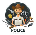 Ranger sheriff vector logo design template funny with a gun in his hand flat illustration Stock Photography