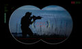 Rangers team during night operation hostage rescue view through mission the vision device Stock Photo