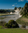 Rangitikei valley ws and river with snow capped tararua ranges in background lush green new zealand pasture farmland Royalty Free Stock Photography