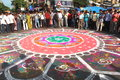 Rangoli in kolkata rath yatra laid during Stock Photo