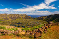 Rano kau water filled volcanic crater on rapa nui Royalty Free Stock Images
