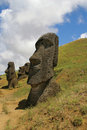 Rano raraku, Easter Island Royalty Free Stock Photography