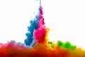Raoinbow of acrylic ink in water color explosion isolated on white background rainbow colors Royalty Free Stock Image
