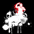 Rap artist vector illustration grunge in graffiti style Stock Photo