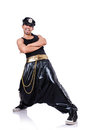 Rap dancer in wide pants on white Royalty Free Stock Image