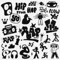 Rap doodles set Royalty Free Stock Photo