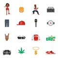Rap Music Flat Icons Royalty Free Stock Photo
