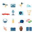 Rap music icons set flat Royalty Free Stock Photo
