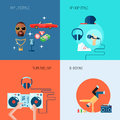 Rap music icons set flat Royalty Free Stock Photo