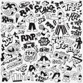 Rap music doodle set