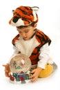 Rapaz pequeno no vestido extravagante Fotos de Stock Royalty Free